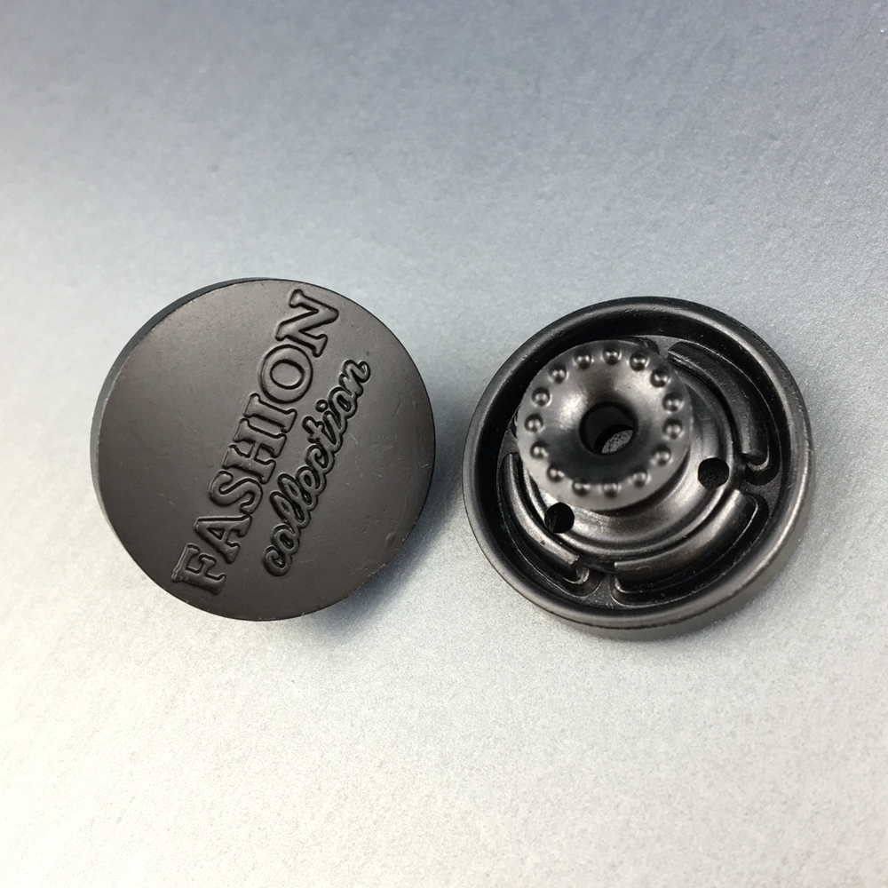 Jeans Accessories Custom logo embossed Metal Snap Buttons for Clothes