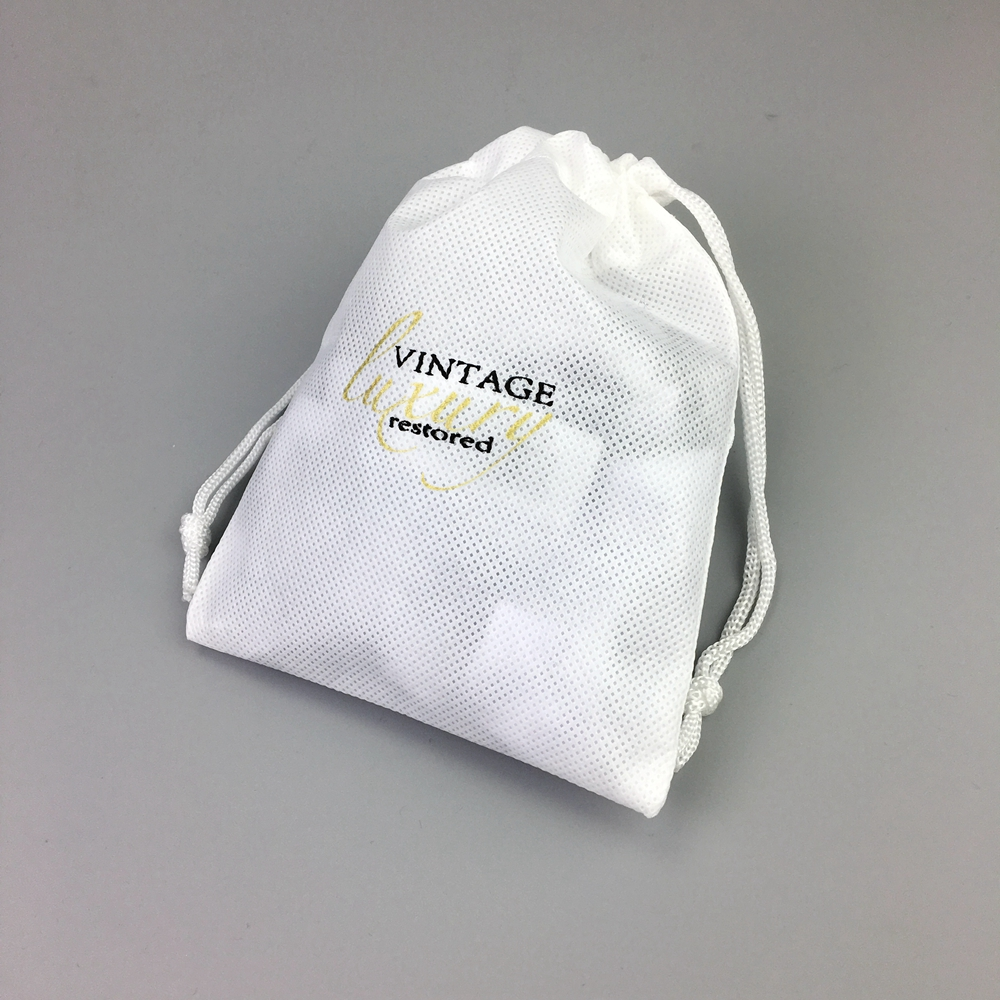 Custom Drawstring Dust Travel Wholesale Matching White non-woven bags