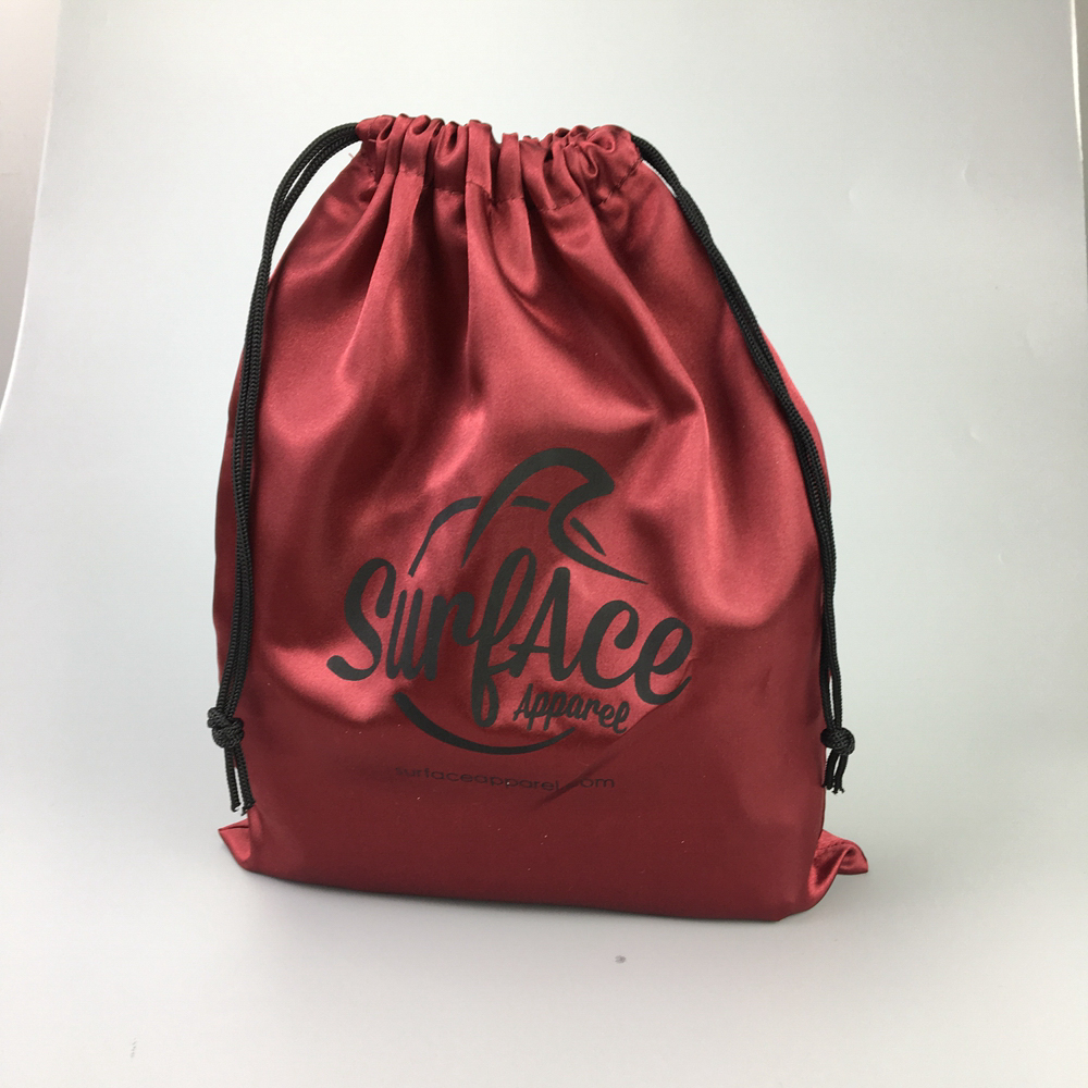 Custom Wholesale custom high quality with own logo package satin drawstring shopping bag