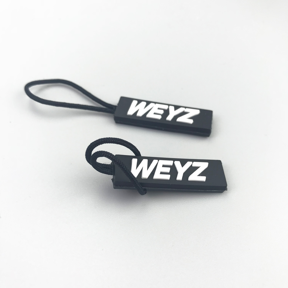 Cheap garment accessory factory custom logo rubber zipper pull