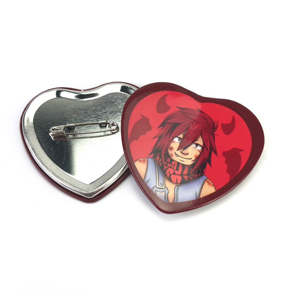 Custom cartoon logo printing heart shape button pin
