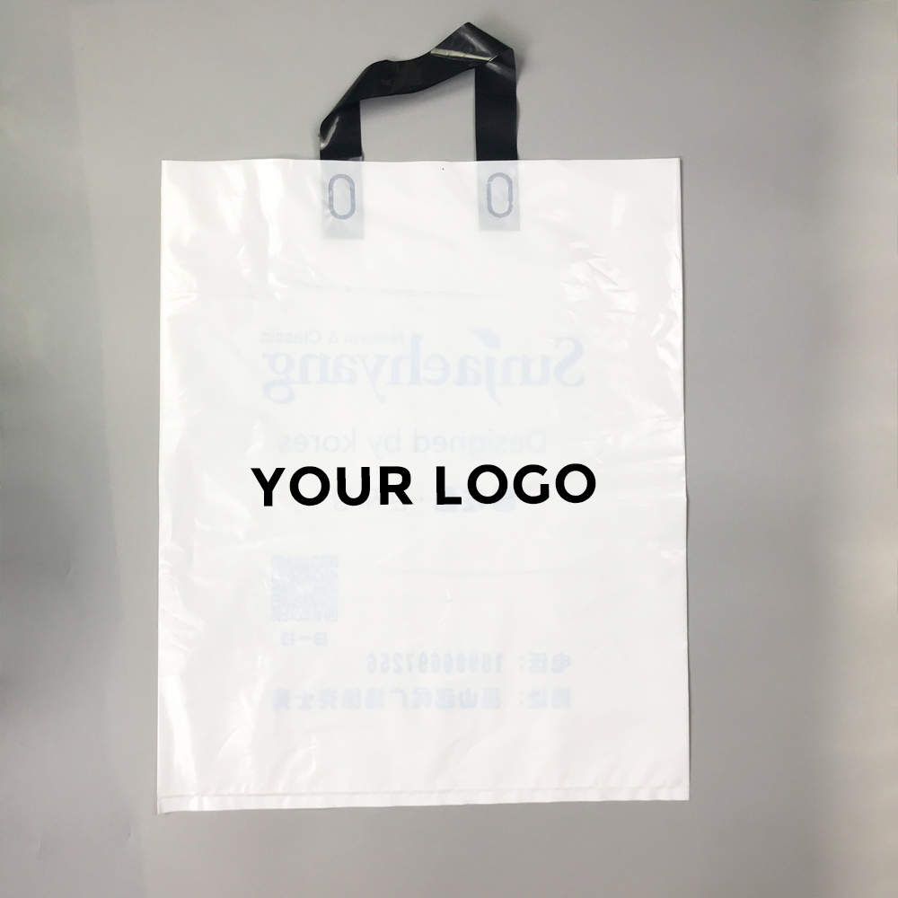 Custom logo printed PE plastic shopping bags wholesale in Guangzhou factory