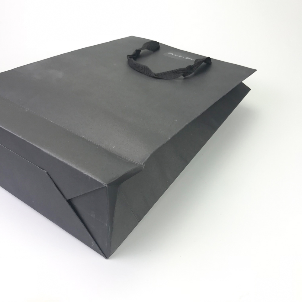 Custom logo printed black carry paper bags