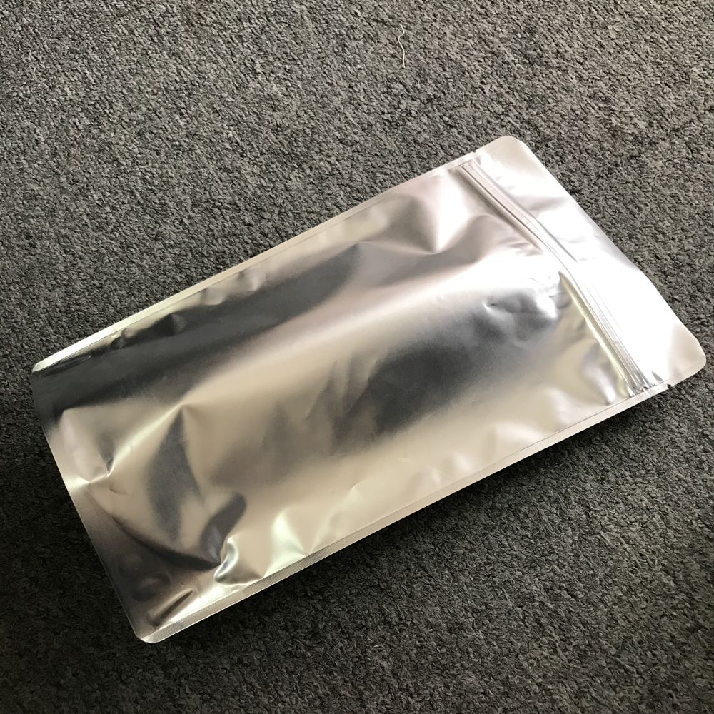 High moisture barrier standing aluminum foil ziplock bag with silver colour