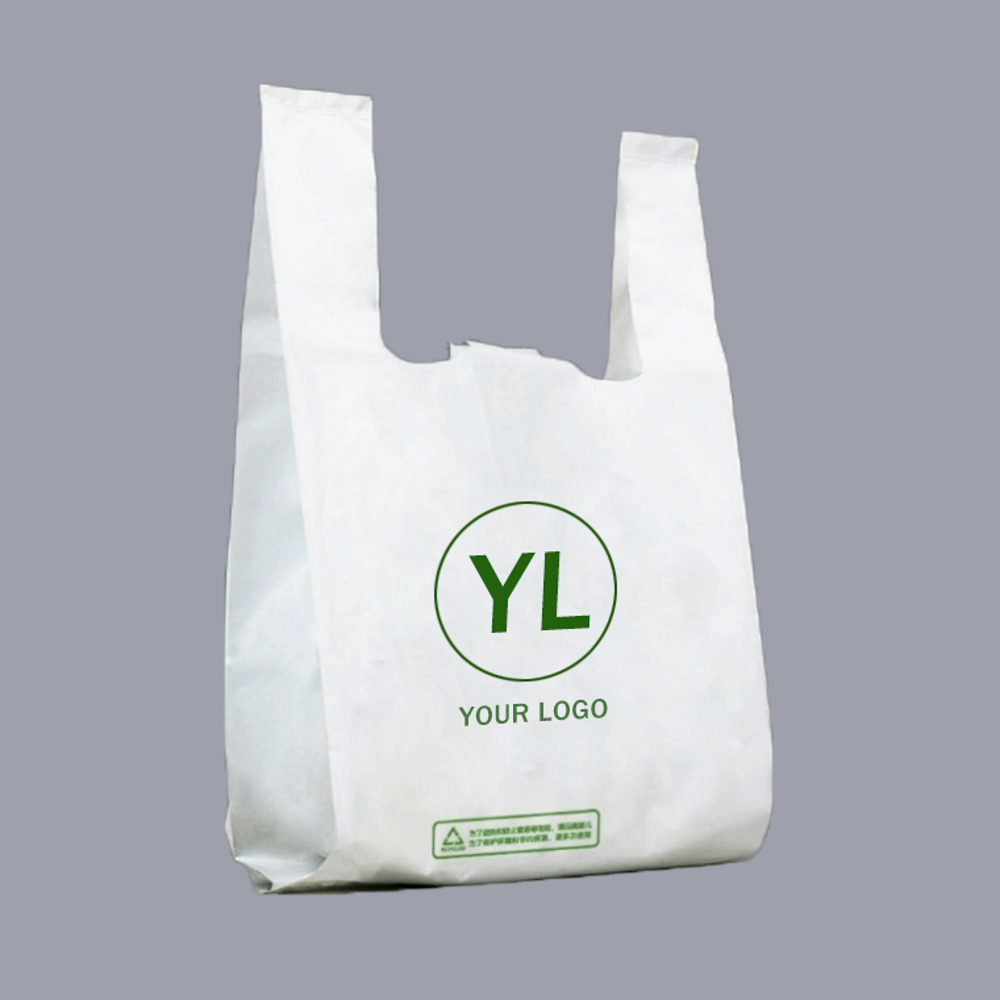 Manufacturers custom recyclable plastic t shirt bags with logos