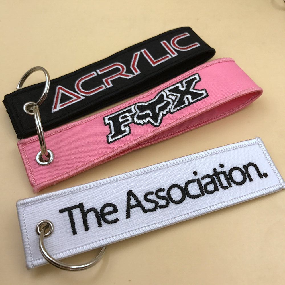 Custom color warning embroidery fabric keychain