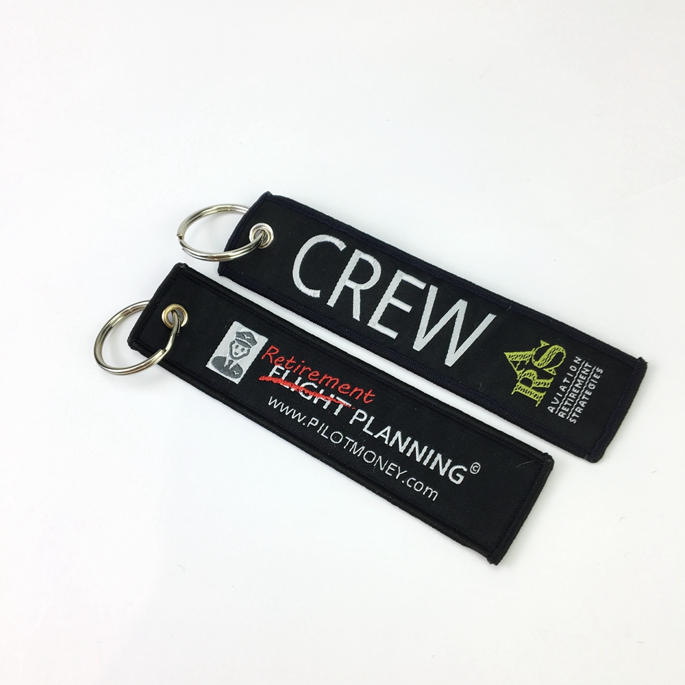 custom wholesale promotional double side design woven key chain