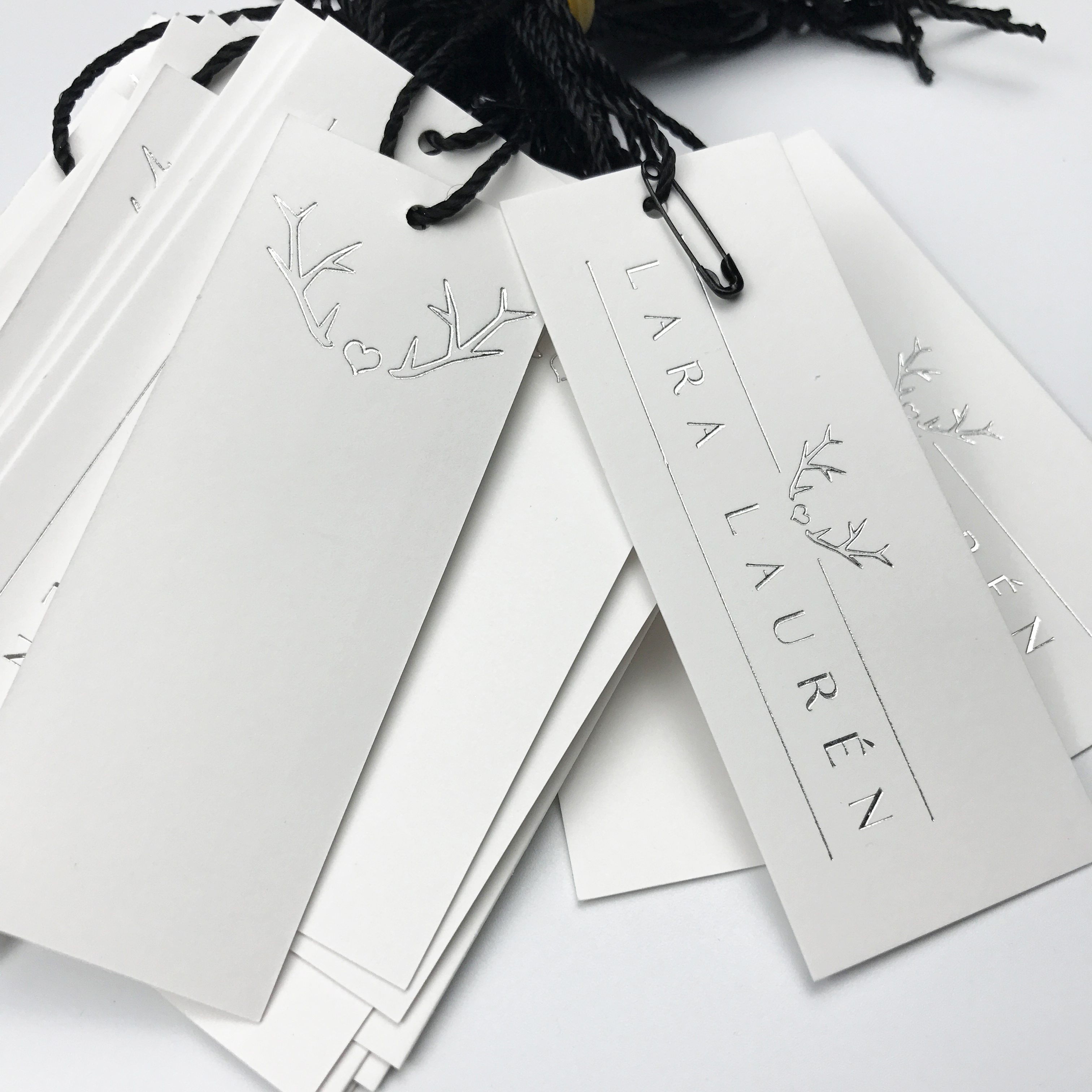 Custom silver foil hang tag