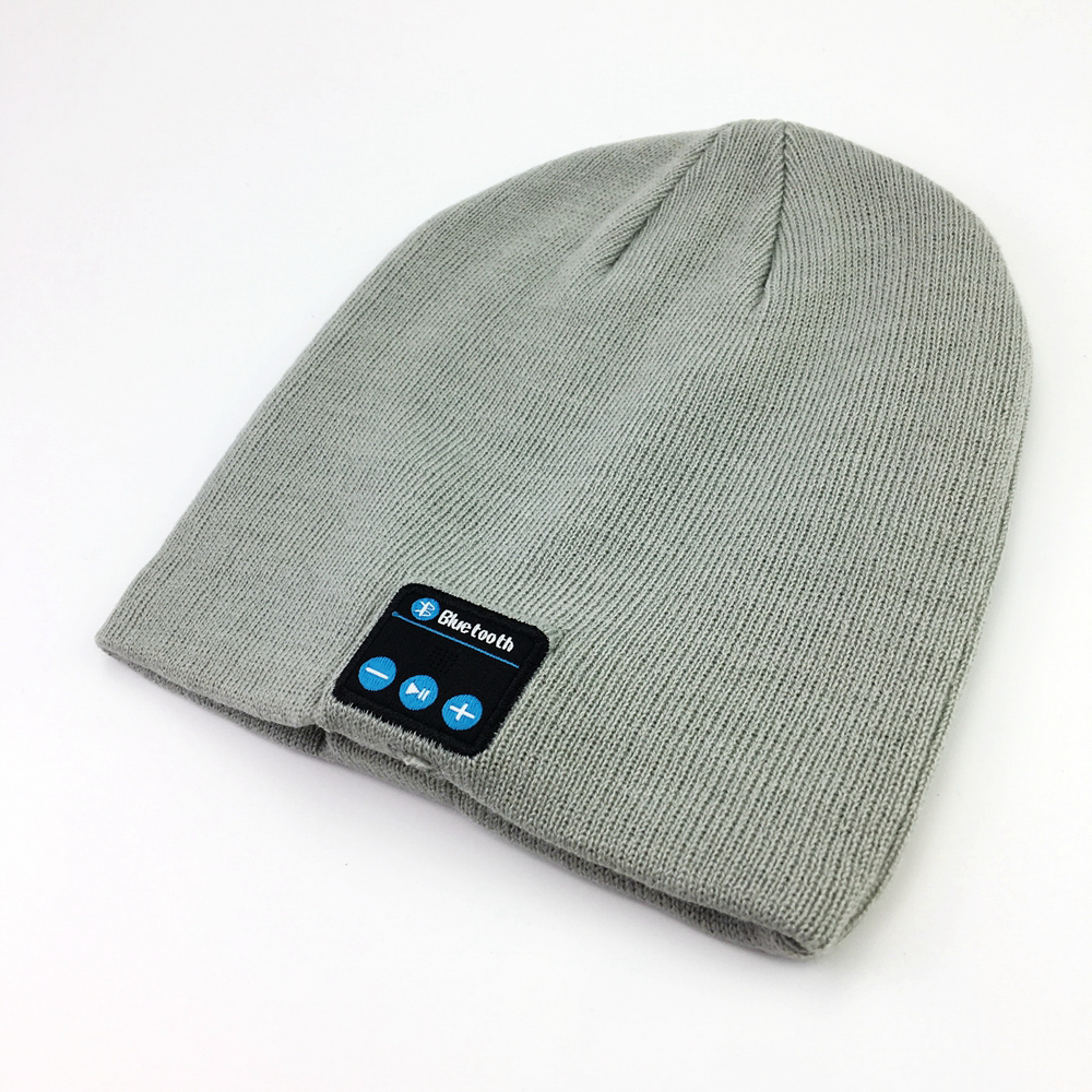 custom woven label embroidery leather patch logo wool bluetooth beanie hat with headphone wholesale