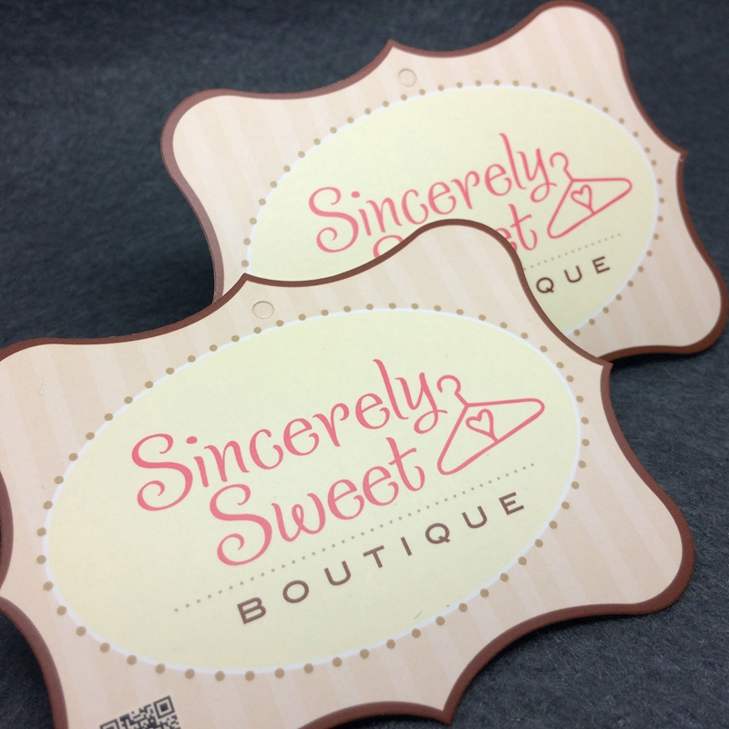 Custom Brand Die Cut Unique Shape Emboss Clothing Hang Tags