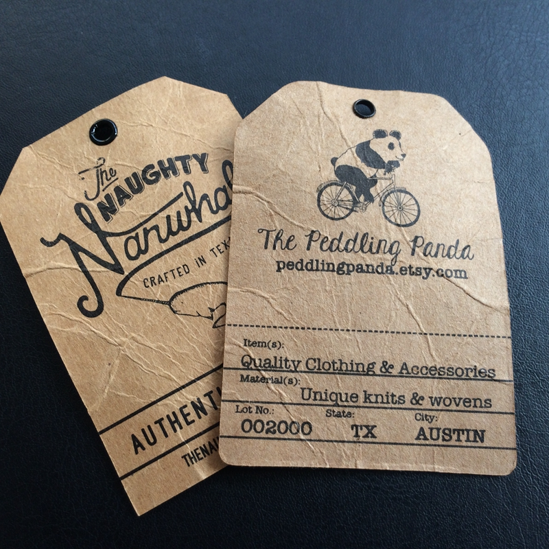 Distress kraft paper hang tags with eyelet custom design for jeans