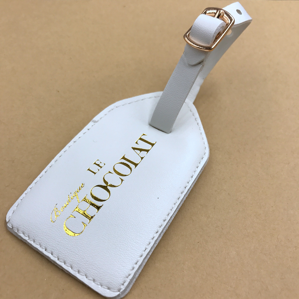 Custom genuine embossed monogrammed personalized leather luggage labels tags