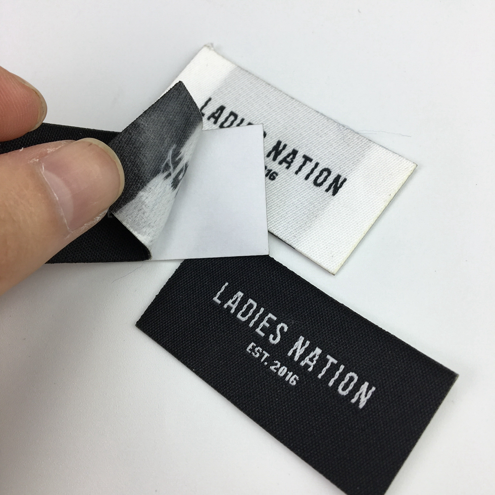 Wholesale adhesive woven damask clothing labels for fabric
