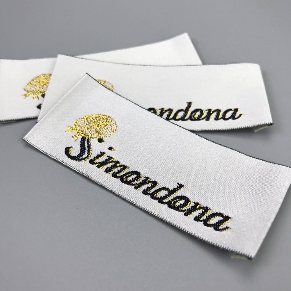 woven labels high density SATIN weave fabric tags Clothing Size tag Black and white text