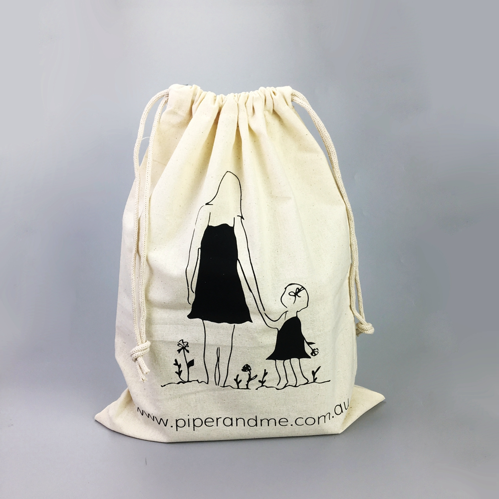 Custom canvas cotton drawstring wine bottle bags wholesale