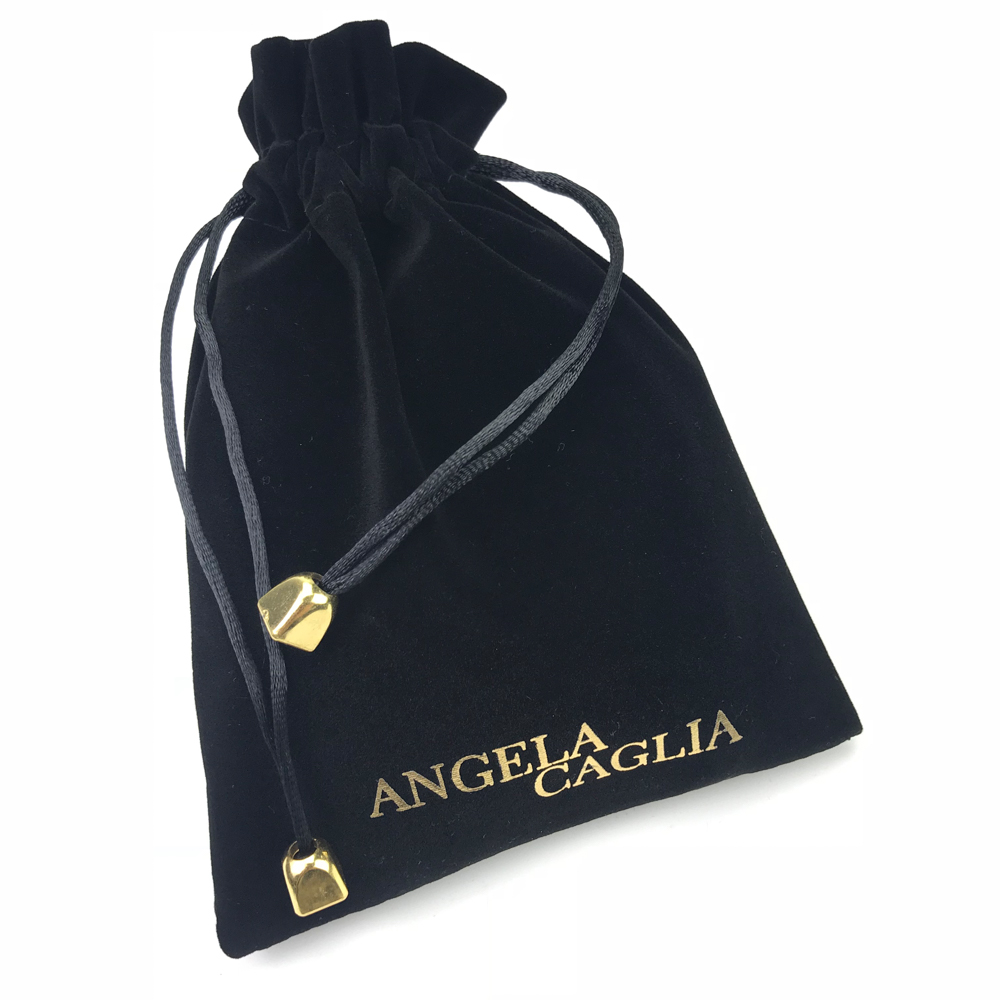 Wholesale black small drawstring jewelry velvet pouch bags