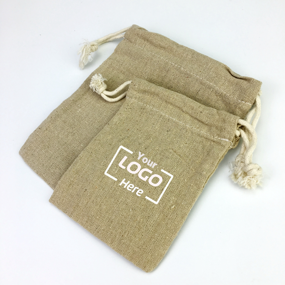 Custom premium natural linen bag hemp drawstring gift pouch bag