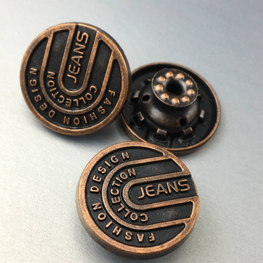 Custom black jeans buttons