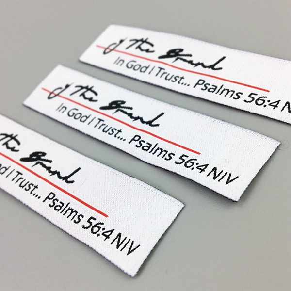 Custom woven stitched fabric labels sewed for handmade items