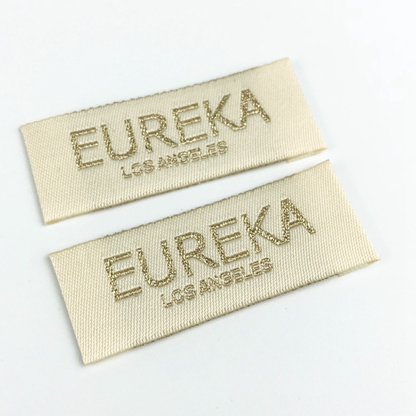 Wholesale high quality custom logo gold silver metallic woven label