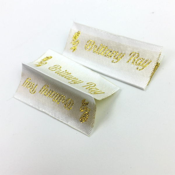 Customize elegant satin woven label clothing adhesive fabric labels