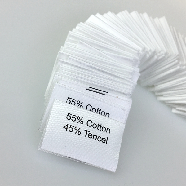 Custom printed care instruction polyester satin garment care label with logo printing