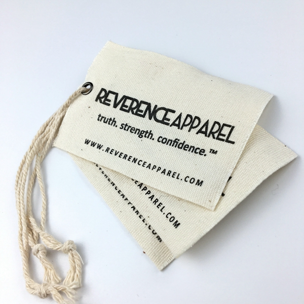 Natrual cotton canvas fabric hang tag with hemp string