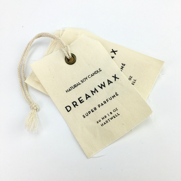 OEM natrual cotton canvas fabric hang tag with hemp string