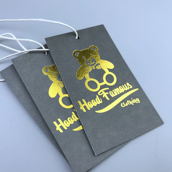 Custom fabric swing recycled gold foil hang tags