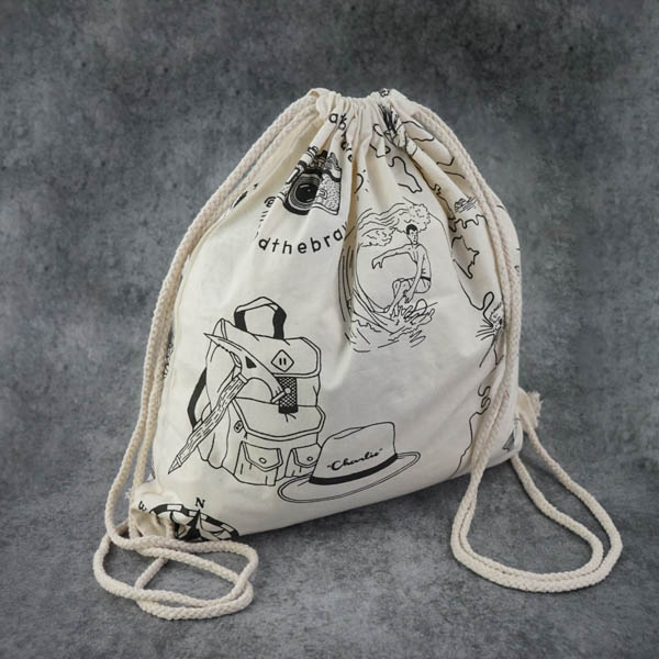 Custom Single color canvas backpack Cotton canvas drawstring backpack bag